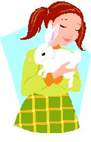 girl cuddling rabbit