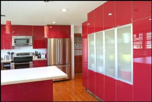 red glossy kitchen units