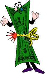 man wrapped in money tied around waist