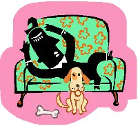 man sitting on sofa with a dog and bone