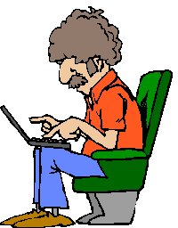 man sitting using a laptop