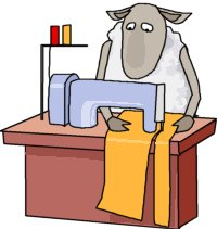 cartoon of a sheep using a sewing machine