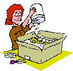 lady putting packing material into a cardboard box