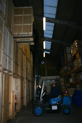 inside a large storage facility