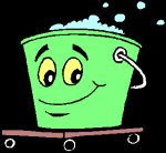 cartoon bucket of soapy water