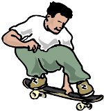man riding skateboard