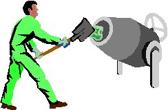 man using a cement mixer