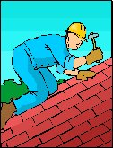 man working on tiled roof