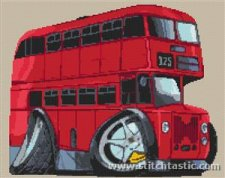 red london bus in cross stitch
