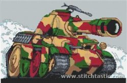 camouflaged tank in cross stitch