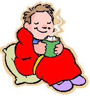 boy in dressing gown and drinking hot drink