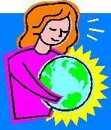 lady holding world in her hans