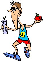man jogging holding bottle of water and piece of fruit