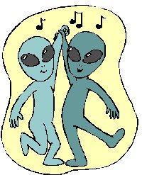 cartoon of two dancing ghosts