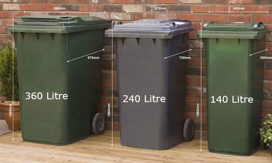 three different size wheelie bins