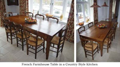 French farmhouse table in country kitchen