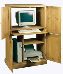 wooden computer cupboard and desk
